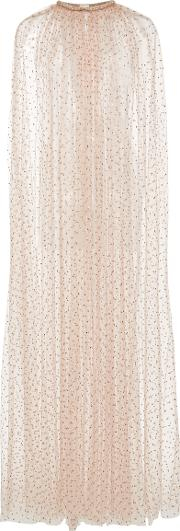 Sheer Tulle Embroidered Cape