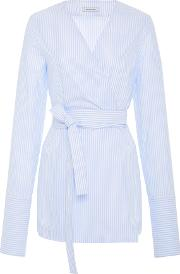 Belted Wrap Cotton Shirt