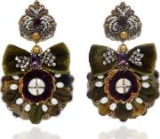 Ranjana Khan 14k Gold Plated Mother Of Pearl And Crystal Earrings