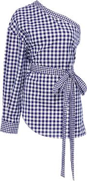 One Shoulder Gingham Cotton Blouse