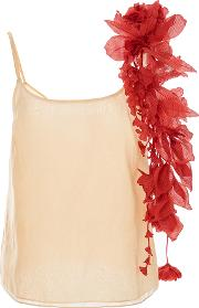 Camisole With Red Removeable Flower Garlands