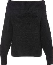 Cashmere Silk Boucle Off The Shoulder Sweater