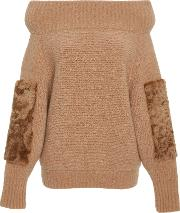Cashmere Silk Boucle Shearling Patch Sweater