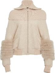 Cotton Jersey Dropped Shoulder Bomber With Fox Fur