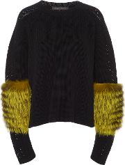 Fur Sleeve Knit Cashmere Sweater