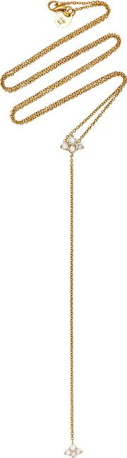 Diamond Cluster Yellow Gold 20 Lariat Necklace