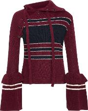 Laceup Striped Ribbed  Sweater