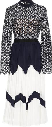 Self Portrait Sweatheart Crocheted Lace And Pleated Crepe Dress
