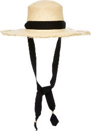 Sensi Studio Frayed Woven Straw Boater Hat With Adjustable Band