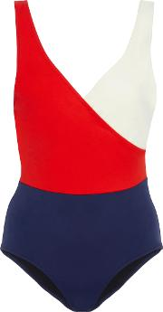 Ballerina Wrap Effect Color Block Swimsuit