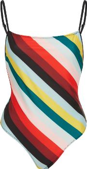 Solid & Striped The Chelsea Diagonal Paradise Stripe One Piece