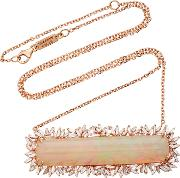 Suzanne Kalan One Of A Kind 18k Rose Gold Diamond And Opal Necklace