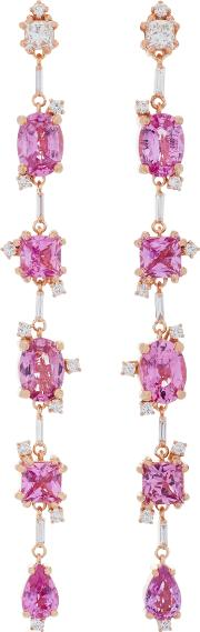 Suzanne Kalan One Of A Kind 18k Rose Gold Diamond And Sapphire Dangle Earrings