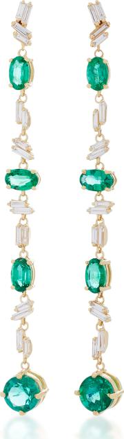 Suzanne Kalan One Of A Kind 18k Yellow Gold Emerald And Diamond Earrings