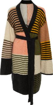 The Elder Statesman Wallace Patchwork Striped Cashmere Robe