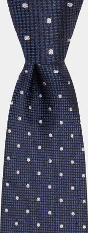 navy texture with silver spot silk tie