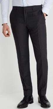 charcoal cont basket weave trousers