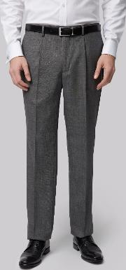 Regular Fit Charcoal Pleated Trousers