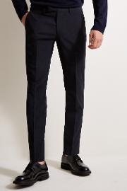 regular fit machine washable navy plain trousers with str.