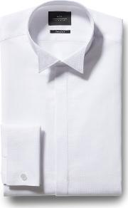extra slim fit white dobby wing collar dress shirt