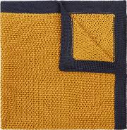 mustard knitted pocket square