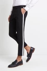 skinny fit black with white side stripe cropped trousers