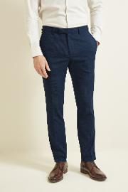skinny fit navy puppytooth trouser