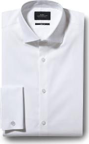 skinny fit white double cuff stretch shirt