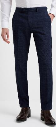 slim fit blue boucle check trousers
