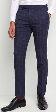 slim fit blue boucle windowpane trousers with stretch