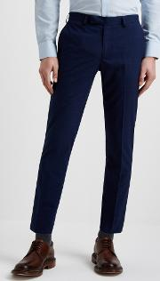 slim fit blue green check cropped trousers