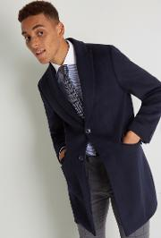 slim fit navy with green double face overcoat