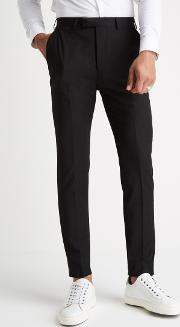 slim muscle fit black trousers