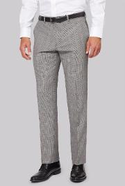 Regular Fit Black And White With Red Check Trousers