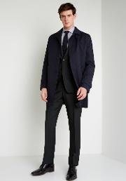tailored fit navy raincoat