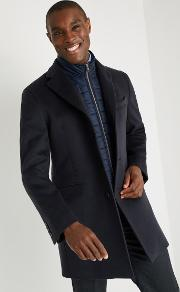 tailored fit navy with nylon insert coat