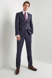 gold tailored fit blue with plum check jacket