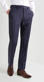 gold tailored fit blue with plum check trousers