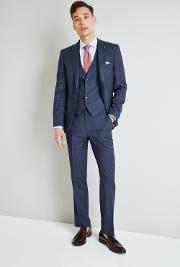 Gold Tailored Fit Blue With Rust Windowpane Jacket