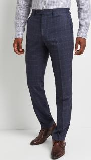 performance tailored fit blue grey checktrousers