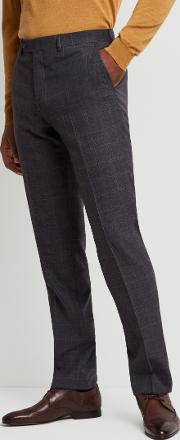 performance tailored fit grey check trousers