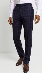 performance tailored fit navy windowpanetrousers