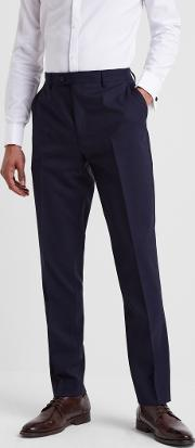 slim fit navy twill trousers