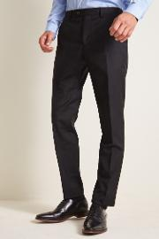 tailored fit black twill trousers