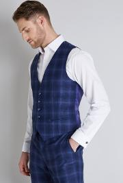 Tailored Fit Blue Bold Check Waistcoat