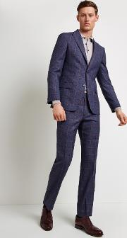 tailored fit blue with pink check jacket