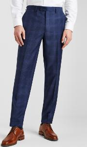 tailored fit blue with purple check trousers