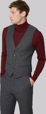 Tailored Fit Charcoal Melange Waistcoat