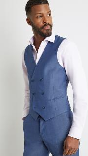 tailored fit faded blue twill double breasted waistcoat