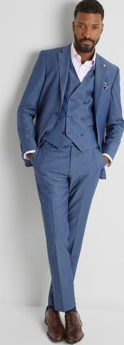 tailored fit faded blue twill jacket
